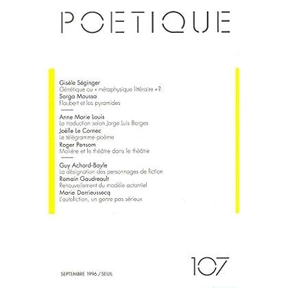 Poétique, numéro 107