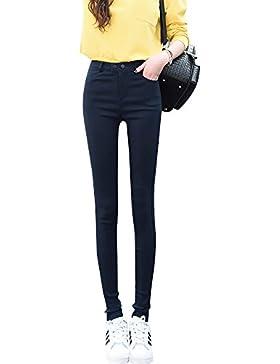 Mujer Casual Pantalones Flaco Oficina Deportivos Slim Fit Elegantes Bolsillos