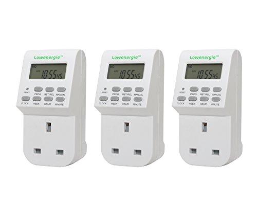 7Tage programmierbar Digital Plug-in Elektronischer Timer Steckdose 12-24Stunde 3er Pack von Lowenergie Deckenleuchte