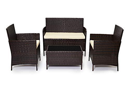Evre Home & - Conjunto de muebles de jardín de ratán para interiores y exteriores, 4 piezas, sofá...