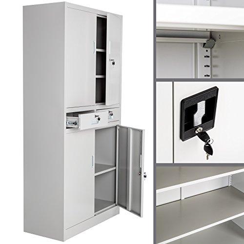 TecTake Aktenschrank mit 2 Schrankabteilen und 2 Schubladen abschließbar (HxBxT) 180x90x40 cm - 4