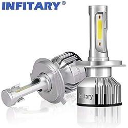 Infitary 2*H4 LED 10000LM, Phare Auto Car Lampe Feux Conversion Ampoule Light, 72W 6500K, IP 67