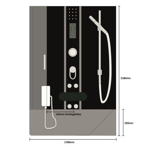 Home Deluxe ALL IN 4in1 Duschtempel, inkl. Dampfsauna und komplettem Zubehör (schwarz, rechts) - 7