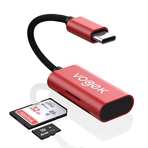 SD Kartenleser USB C, Vogek 2-in-1 USB C zu SD/Micro SD Kartenlesegerät Adapter für MacBook Pro 2018/2017, Chromebook, XPS, Galaxy S10/S9/S8, Chromebook Pixel, Surface Book Und Weiter