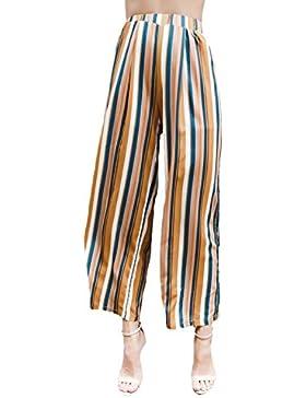 Lanceyy Pantalones Mujer Verano Elegante Cintura Alta Elasticos Rayas Modernas Casual Pantalon Anchos Casuales...