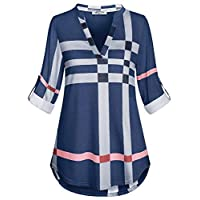 SeSe Code 3/4 Sleeve Shirts for Women V Neck Tops Plaid Tunic Fall Clothes Fitting Pleat Jersey Knit Design Printed Pattern Blouse Grey and Blue XLarge