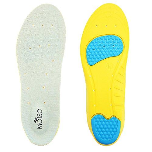 Moiso solette orthotiche con supporto archetto, cuscino heel e gel massaggio su fendine per alleviare il dolore al piede e la fasciite plantare