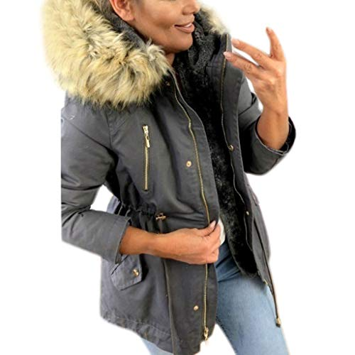 Preisvergleich Produktbild TianWlio Mäntel Herbst Winter Damen Jacken Parka Warme Jacken Strickjacken Mode Winter Warm Military Kapuzenjacke Lässig Kunstpelz Mantel Outwear Dunkelgrau XXXL