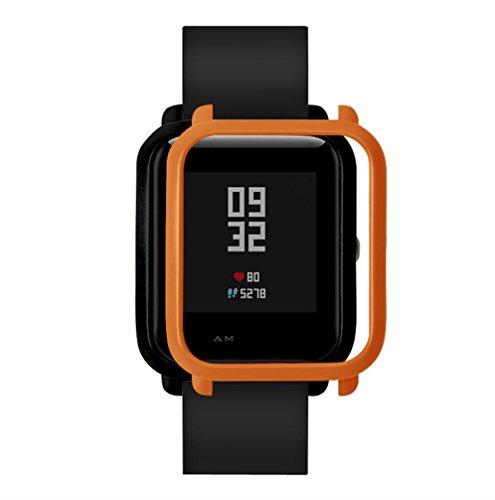 Squarex Slim bunter Rahmen für Huami Amazfit Bip Youth Uhr, Polycarbonat Hülle, Schutzhülle, Schutz, Hülse, Herren, Orange, AS Show