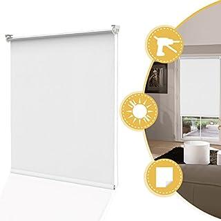 Deswell Store Enrouleur Occultant Thermique sans Perçage Blanc 60 x 160 cm - 100% Opaque Contre UV - 2 Types de Fixations