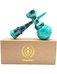 Qiandier Kendama Pintura Completa Juguetes de Madera de Deportes y Cuerda Extra (Azul de Mármol)