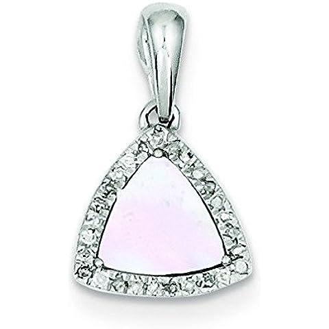 Sterling Argento Diamante e madreperla Triangolo Ciondolo