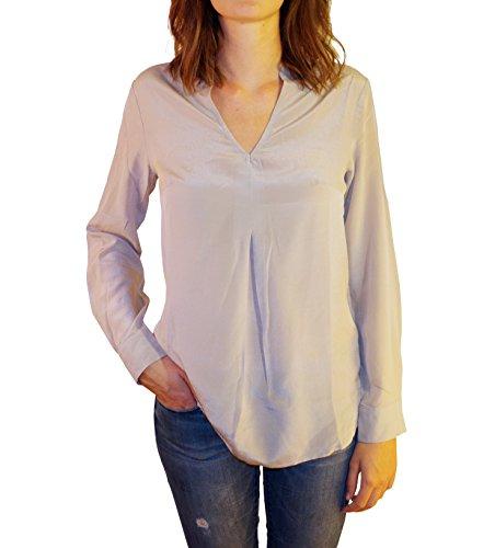 Posh Gear Damen Seidenbluse Piuseta Bluse aus 100% Seide, grau, Größe L - Damen 100% Seide Bluse