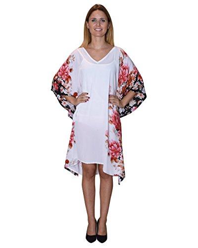 Bayside Barcelona Weißen Blumen Gedruckt Mutterschaft Kaftan Strand Kleid Größe G -