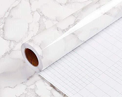 Yancorp Marmorkontaktpapier abnehmbare Tapetenfolie Selbstklebend Granit Aufkleber Küche Peel Stick Backsplash Marmor Fliesen Arbeitsplatte Möbel Regal Liner Small Weiß/Grau -
