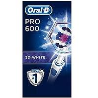 Oral-B PRO 600 Brosse à Dents Électrique Rechargeable avec 1 Manche et 1 Brossette 3D White, Technologie 3D, Élimine…