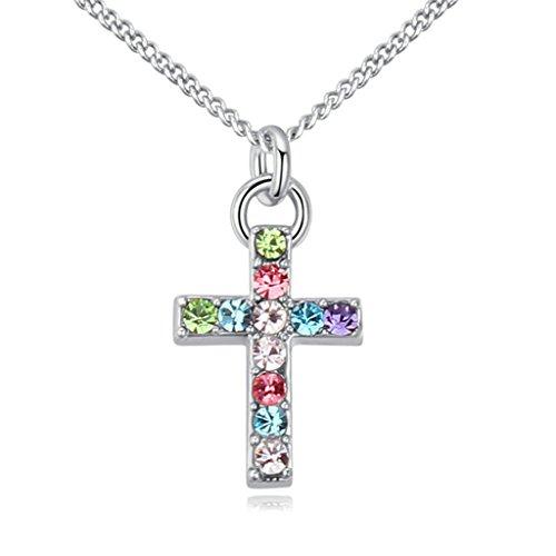 Adisaer Vergoldet Damen Anhänger Halskette Jesus Kreuz Cubic Zirkonia Halsreif Kette für Mädchen Farbige