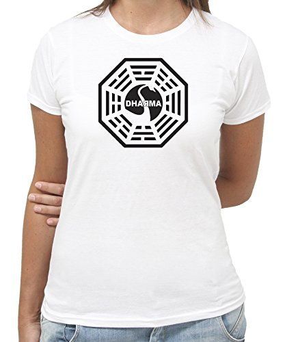 T-shirt lost serie tv simbolo dharma-cult - by new indastria - donna-m-bianca