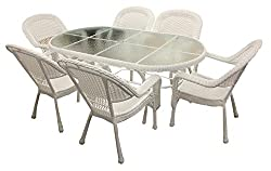 7-piece White Resin Wicker Patio Dining Set - 6 Chairs & 1 Dining Table
