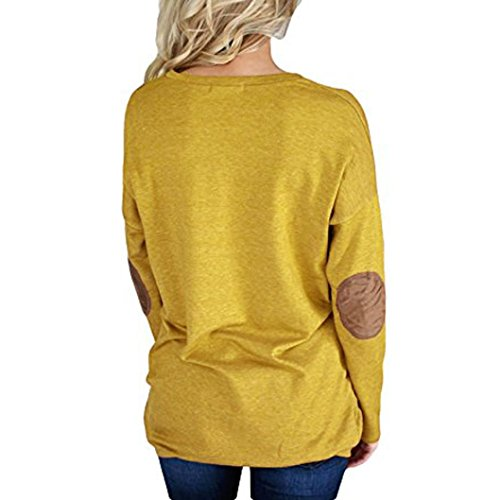 Pull Femmes Hiver HUHU833 Casual O-cou tricot chandail pullover à fond patchwork à manches longues Sweater T-shirt Jaune