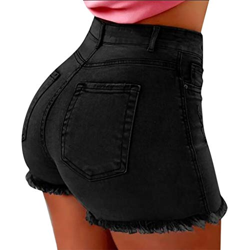Deloito Neu Sommer Kurz Hotpants Damen Mode Jeans Shorts Sexy Taschen High Waist Denim Mini Hose mit Taschen (Schwarz,Medium)