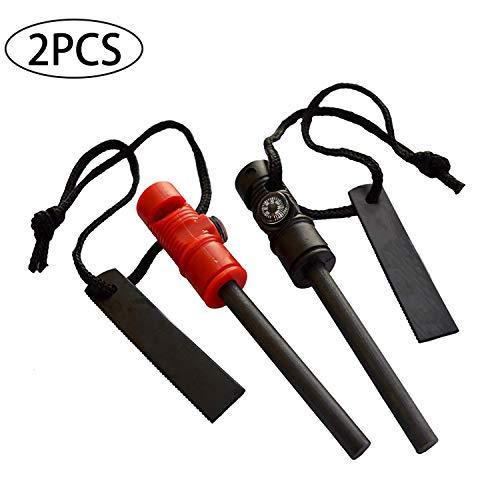 GCOA 2 PCS Allume feu Survie - Outil Multifonction de Survie 3 en 1 - Tige de démarrage au feu en magnésium, Boussole magnétique et sifflet d'Urgence pour Kits de Camping et de Secours en Plein air