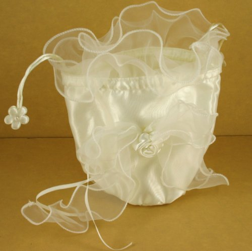 Wedding Bridal Shower Makeup Cosmetic Satin Purse Bag w/ Organza Bow (Ivory) by DPC (Bow Bag Purse)