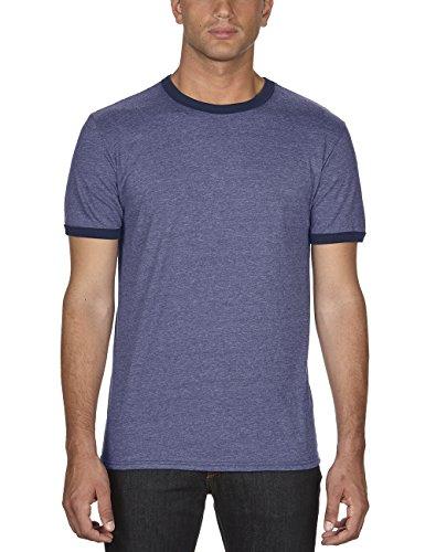 anvil Herren Ringer T-Shirt / 988, Mehrfarbig, Gr. X-Large, Blau (Heather Blue/Navy FA321)