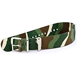 KS Camouflage 20mm Military Mens Replacement Nylon Sport Army Wristwatch Band Strap WB2044