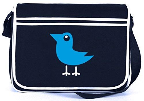 Shirtstreet24, BIRD, Vogel Natur Tier Retro Messenger Bag Kuriertasche Umhängetasche Navy