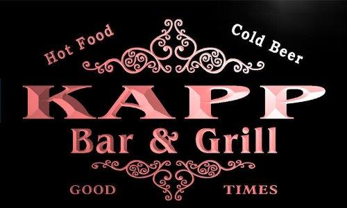 Kapp-bar (u22596-r KAPP Family Name Bar & Grill Home Beer Food Neon Sign Barlicht Neonlicht Lichtwerbung)