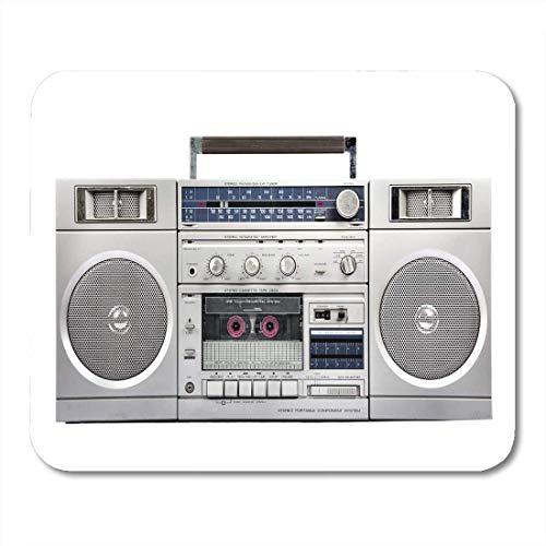 Luancrop Mauspads Lautsprecher 1980er Silber Radio Boom Box Kassette Stereo Retro Weiß Mousepad für Laptop, Desktop Computer Zubehör Mini Office Supplies Mauspads