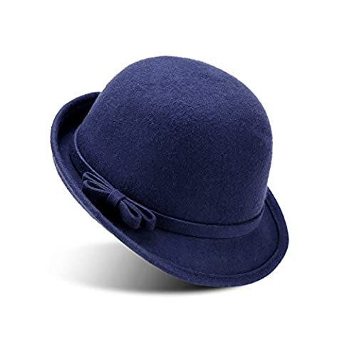 JOOWEN Women's 100% Wool Felt Round Top Cloche Hat Fedoras Trilby with Bow Band (Navy Blue)