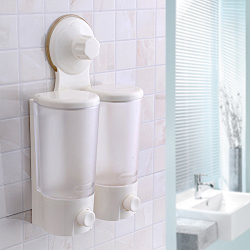 Strong sucker bathroom soap dispenser soap box/Shower Shampoo Dispensers Wall Mount Magic Sucker Easy Disassemble, Two Chamber by Sunsang(double)