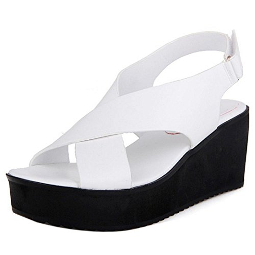 COOLCEPT Damen Mode Slip On Sandalen Keilabsatz Peep Toe Schuhe White