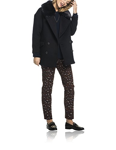Scotch & Soda Maison Cool Boxy Fit Jacket with Removable Faux Fur Collar, Giacca Donna Blau (Night 02)