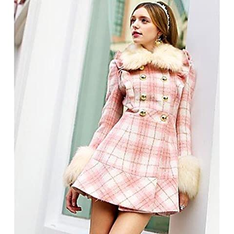 PU&PU moda plaid rosa delle donne doll® cappotto di lana sottile , pink , m