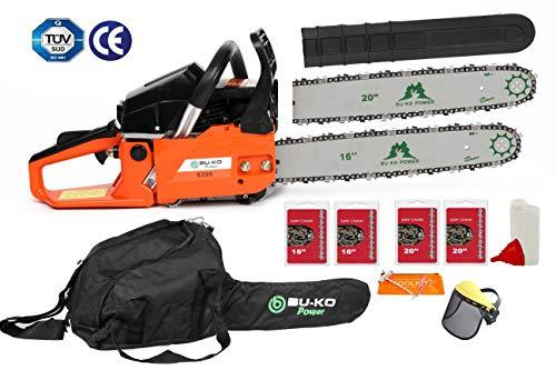 """BU-KO 62cc tronçonneuse essence 3.4HP 20""""barre avec 2 chaînes et 16"""" barre avec 2 chaînes - sac de couverture et équipement de sécurité complet"""