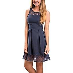 ECOWISH Damen Kleid Sommerkleid Freizeitkleid Cocktailkleid Lace Spitzen Elegant Armellos Rundhals Knielang ,EU L Navy Blau