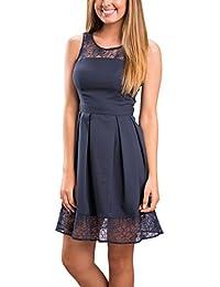 ECOWISH Damen Kleid Sommerkleid Freizeitkleid Cocktailkleid Lace Spitzen Elegant Ärmellos Rundhals Knielang