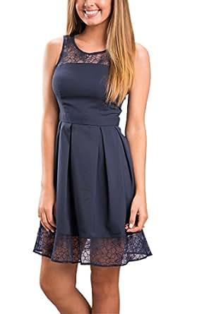 ECOWISH Damen Kleid Sommerkleid Freizeitkleid Cocktailkleid Lace Spitzen Elegant Armellos Rundhals Knielang ,EU S Navy Blau
