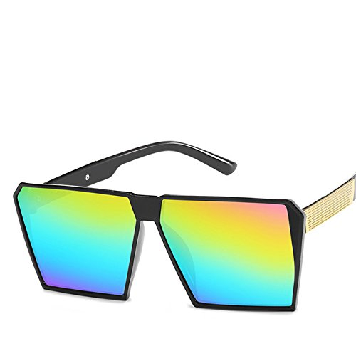 ZHANGYUSEN Square Oversized Sunglasses New Reflective Sunglasses Men Women Designer Luxury Fashion,C8