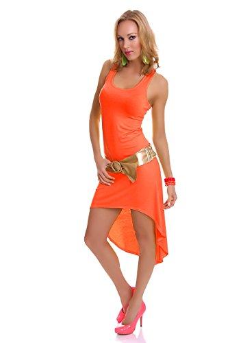 Damen Vokuhila Shirt-Kleid Minikleid Midikleid Trägerkleid Strandkleid Sommerkleid 34/36 (S/M) neon orange