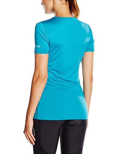 Gregster T-Shirt kurzarm für Damen in schwarz, pink und blau- Shirt mit V-Ausschnitt - unifarbenes Sportshirt bis Größe XL - Laufshirt bzw. Fitnessshirt für Sport in extra lang Blau