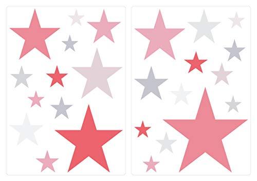 dekodino® Wandtattoo Pastell Sterne mit Mädchenfarben 25 Stück Wandsticker Set -