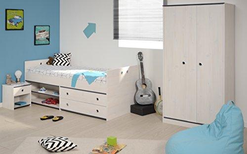 Kinderzimmer Elisa 3-teilig weiß + pink oder blau inkl Bett inkl Schubladen + Regale Kleiderschrank Nachtkommoden Komplettzimmer...