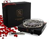 M. ROSENFELD Premium Shisha Kohleanzünder elektrisch - für Shisha Kohle Black Heat (1000W | Anzünder | Schwarz) + Gitter + Zange aus Edelstahl + Langes 140 cm Kabel (Schwarz Glanz)