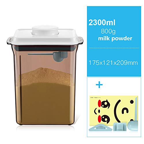 JIANCHI Aufbewahrungsbehälter für Gewürze und Lebensmittel mit luftdichten Deckeln, BPA-frei und lebensmittelechtem Kunststoff, Milchpulvertank (800g),Brown,2.3L