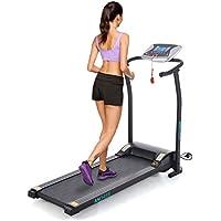 Preisvergleich für mymotto Mini Laufband Klappbar Fitness Heimtrainer Elektrisches Fitnessgerät mit LCD Display 125 x 59,9 x 107cm Dämpfungssystem(Schwarz/Weiß/Orange)