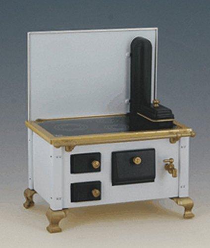 Nostalgieherd Ofen mit Ofenrohr weiss Puppenhausmöbel Küche Miniatur 1:12